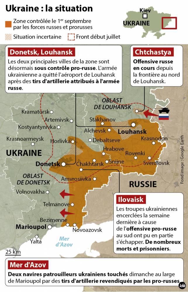 L'offensive pro-russe au sud-est de l'Ukraine ©  Idé