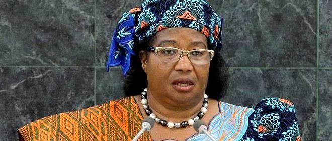 Joyce Banda, alors présidente du Malawi, intervient à la tribune des Nations unies.