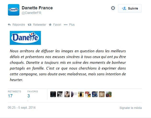 Danette présente ses excuses sur Twitter ©  DR / Capture d'écran Twitter @DanetteFR