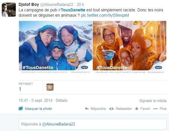 La nouvelle campagne de pub Danette fait polémique sur Twitter ©  DR / Capture d'écran Twitter @AliouneBadara22