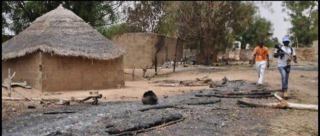 Dans un village de l'État de Borno, dans le nord-est du Nigeria, détruit par les islamistes de Boko Haram.