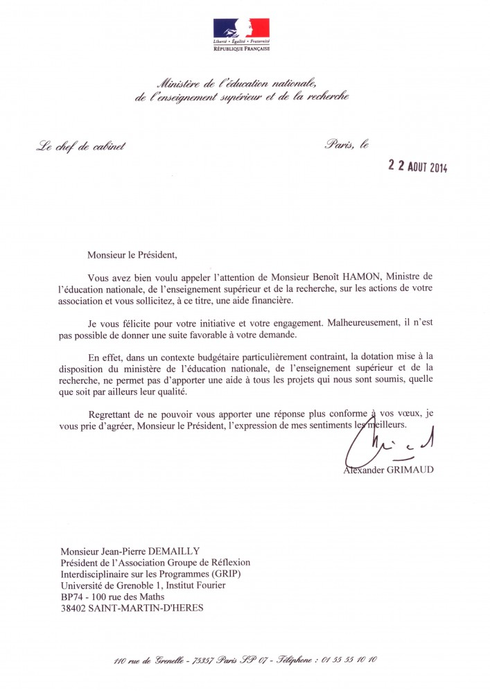 La réponse des services de benoït Hamon au GRIP