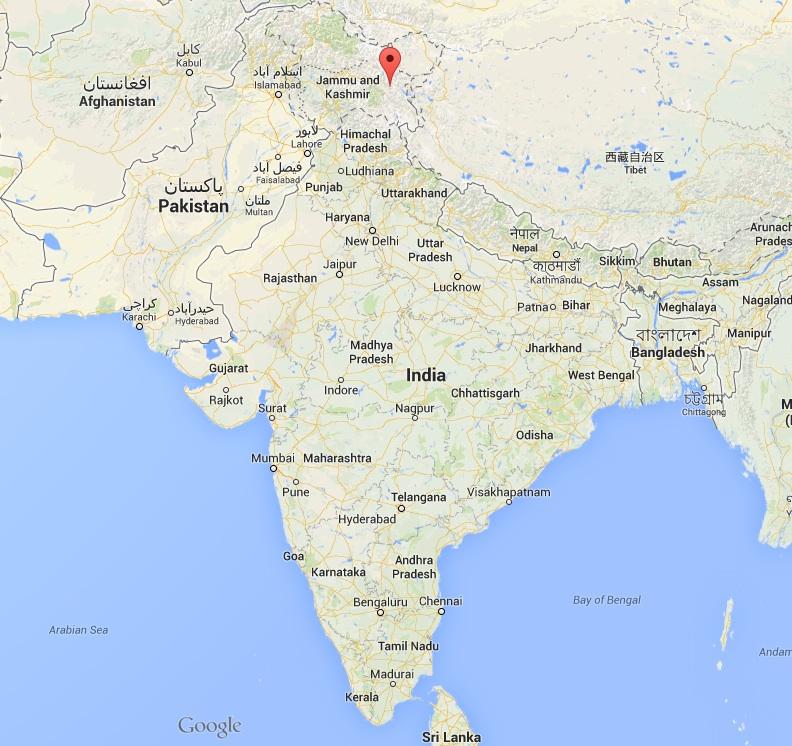 Carte du sous-continent indien ©  Google Maps
