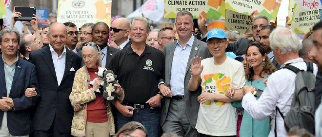 Ban Ki-moon (casquette bleu ciel), entre Ségolène Royal et le maire de New York Bill DeBlasio, a tiré les leçons de l'échec danois. Il était samedi à la marche pour le climat organisée dans plusieurs grandes villes du monde.