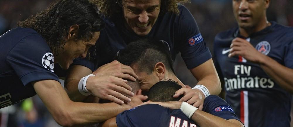 La joie des Parisiens, à l'issue de cette victoire face au Barça (3-2) au Parc des princes.