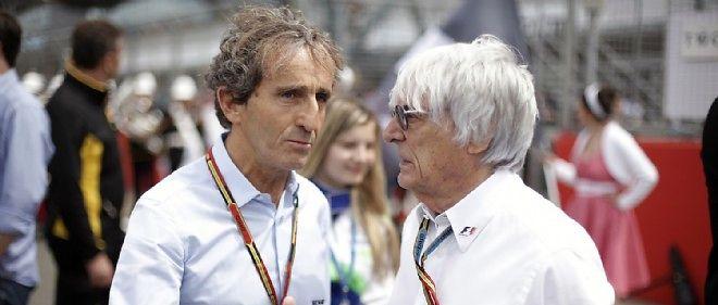 Alain Prost, ici avec Bernie Ecclestone au GP de Grande-Bretagne 2014, relève de graves erreurs de la part de l'organisation, impliquée selon lui dans l'accident de Bianchi.