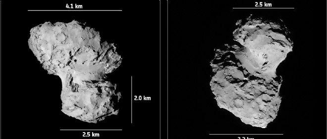 Aperçu des dimensions de la comète cible de Rosetta.