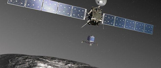 Représentation artistique du largage de Philae par la sonde Rosetta.