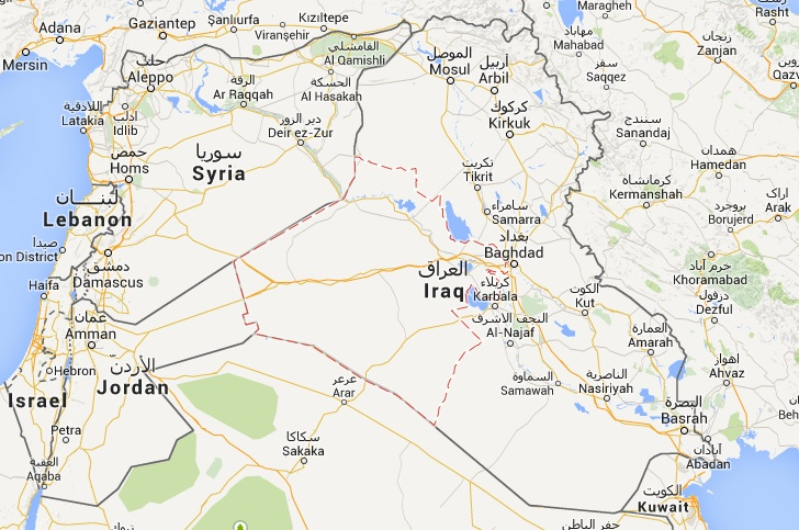 En rouge, la province d'Al-Anbar, berceau de l'organisation État islamique ©  Google Maps
