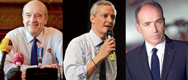 À g. : Alain Juppé, maire de Bordeaux ; au c. : Bruno Le Maire, candidat à la présidence de l'UMP ; à dr. : Jean-François Copé, maire de Meaux.