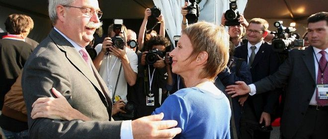 Christophe de Margerie et Laurence Parisot, au congrès d'été du Medef en 2008.
