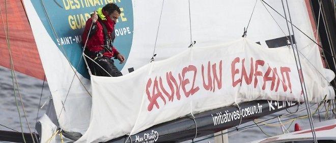 Tanguy de Lamotte sur son bateau Initiatives-coeur.
