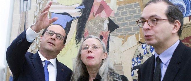 François Hollande, l'ex-présidente du musée Picasso Anne Baldassari et le directeur du musée Laurent Le Bon à l'occasion de l'inauguration samedi 25 octobre.