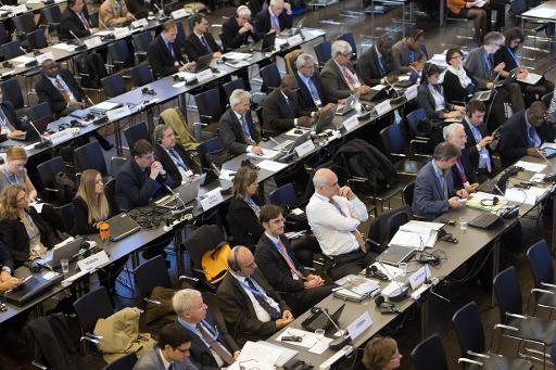 Les experts du GIEC réunis le 27 octobre 2014 à Copenhague © Keld Navntoft Scanpix/AFP/Archives