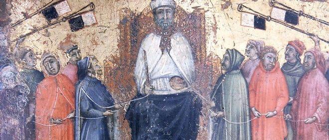 Le bon gouvernement et les services de la gabelle. Tavoletta di Biccherna, 1474. Peinture de Benvenuto di Giovanni (1436-1518).