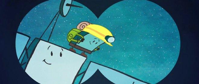 Représentation artistique humoristique de Philae prêt à sauter sur sa comète.