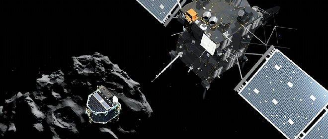 Un dessin réalisé par l'Agence spatiale européenne montre Philae en train de se séparer de Rosetta pour rejoindre son point de chute. Un grand saut dans l'inconnu.