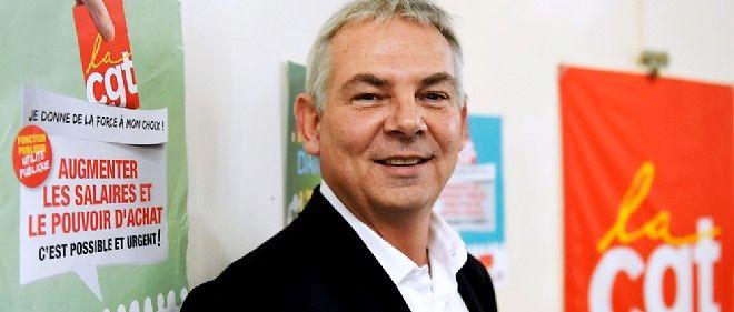 Thierry Lepaon, secrétaire général de la CGT, en campagne électorale le 6 novembre dernier à Blénod-lès-Pont-à-Mousson en Meurthe-et-Moselle.