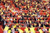 Les patrons réunis à Lyon par le Medef et la CGPME sortent leur carton jaune contre le gouvernement, le 8 octobre 2013. ©PHILIPPE MERLE