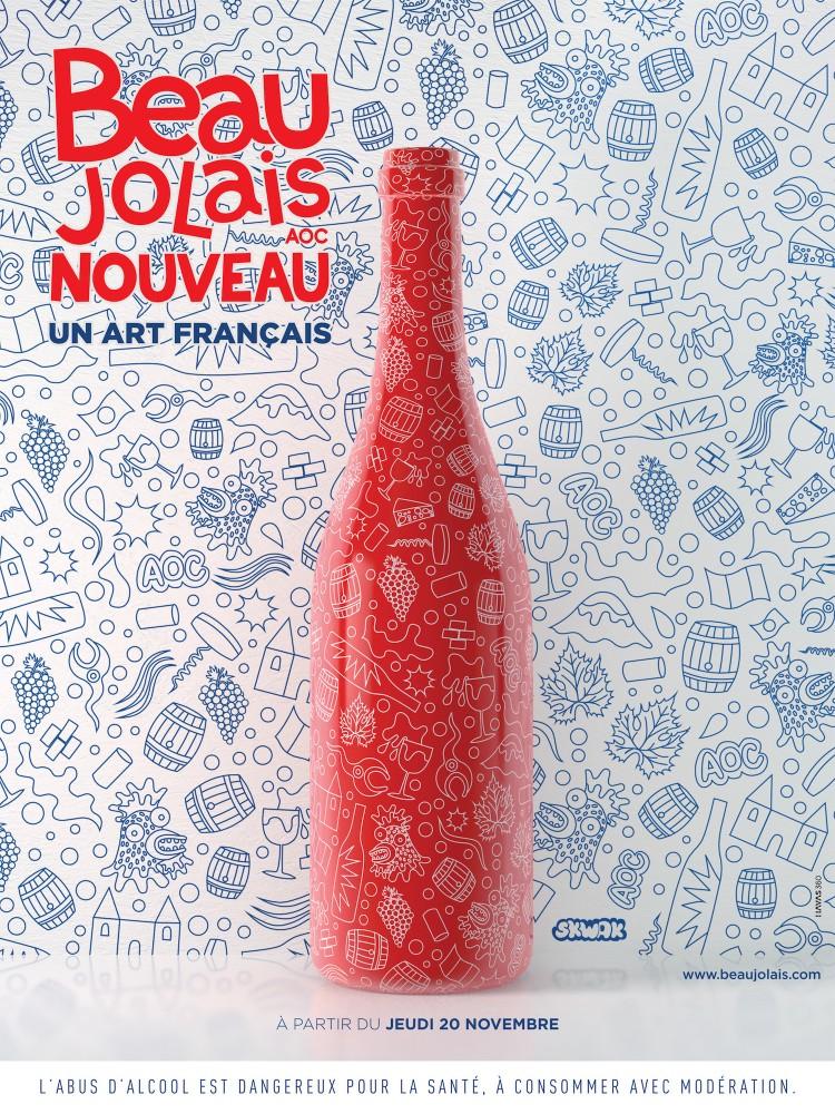 Affiche du beaujolais nouveau 2014. ©  © SWKAK / HAVAS 360