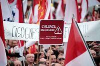 Manifestation contre la fusion Alsace-Lorraine-Champagne-Ardenne, en octobre 2014. ©FREDERICK FLORIN