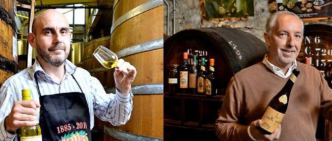 Axel Hermannn (g.) directeur de la distillerie des Terres rouges, et Philippe Denoix, de la distillerie Louis Roque.