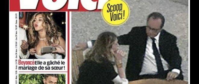 """La couverture de """"Voici"""" montrant François Hollande et Julie Gayet ensemble, à l'Élysée."""