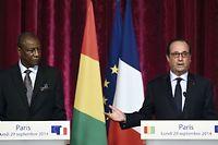François Hollande et son homologue guinéen Alpha Condé lors d'une conférence de presse à l'Élysée, le 29 septembre 2014. ©Eric Feferberg