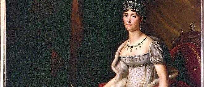 Joséphine en costume d'impératrice par François Gérard (dé†ail), 1807.