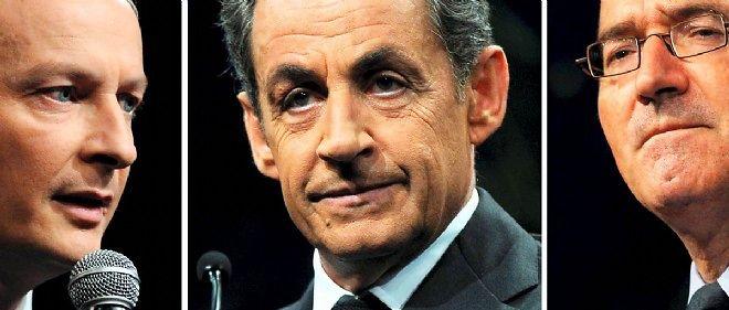 Nicolas Sarkozy (au centre) est donné ultra favori devant Bruno Le Maire (à gauche) et Hervé Mariton (à droite).