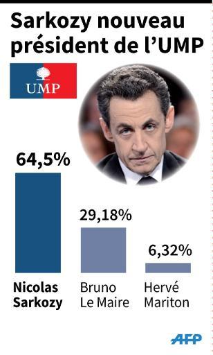 Graphiques sur les résultats de l'élection pour la présidence de l'UMP, remportée par Nicolas Sarkozy © L. Saubadu/ P. Defosseux, L. Saubadu/ P. Defosseux AFP