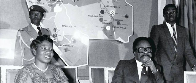 Le président du Gabon Omar Bongo (1935-2009) et sa première épouse, Joséphine, en 1980.