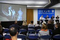 Les hôpitaux universitaires de Genève (HUG) en conférence de presse le 21 novembre 2014. ©Fabrice Coffrini