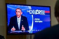 Barack Obama animateur du Colbert Report. ©Andrew Harrer / Pool via CNP - NO WIRE SERVICE -