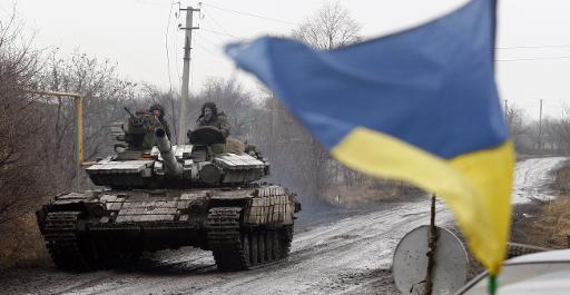 Un char ukrainien le 11 décembre 2014 dans le village de Tonenke dans la région de Donetsk © Anatolii Stepanov AFP/Archives