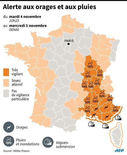 Carte de France avec les départements en alerte orange, inondations, crues, orages et vagues le 4 novembre 2014 © P. Pizarro/D. Mayer AFP/Archives