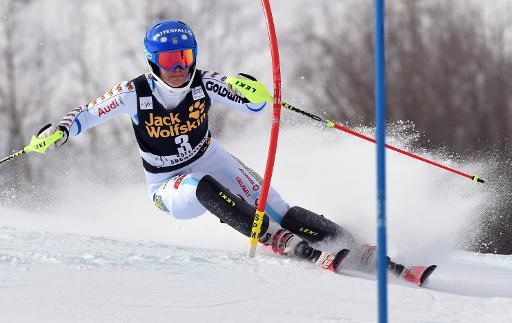 Maria Pietilae Holmner lors d'un passage de porte du slalom d'Äre en Suède, le 13 décembre 2014 © Don Emmert AFP