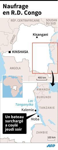 Carte de localisation du lac Tanganyika où un bateau surchargé a coulé jeudi soir, faisant au moins 129 morts © S. Ramis/P. Defosseux AFP