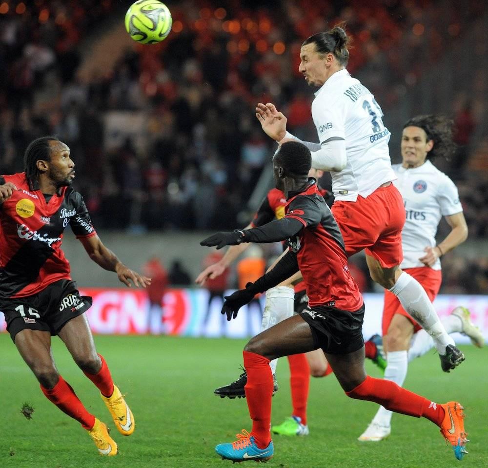 Zlatan; lors de la défaite du PSG face à l'EAG (1-0). ©  FRED TANNEAU / AFP