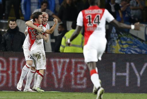 La joie des joueurs de Monaco, après le but du Portugais Bernardo Silva (N.15) contre Marseille, le 14 décembre 2014 au stade Louis II ©  AFP