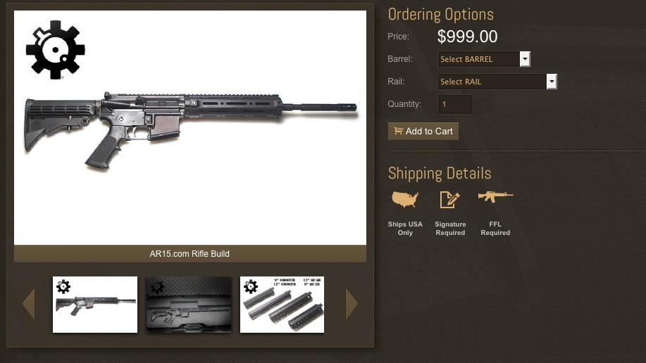 Un AR15, une arme de guerre en vente sur internet aux États-Unis ©  Capture d'écran