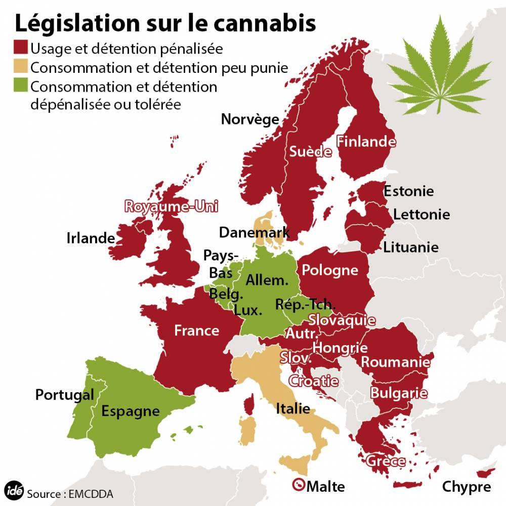 Cannabis : la législation en Europe ©  Idé