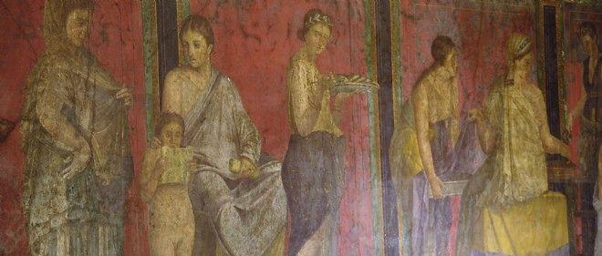Détail d'une fresque de la cité romaine de Pompéi.