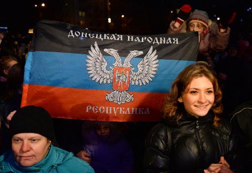 Célébrations des fêtes de fin d'année à Donetsk, dans l'est de l'Ukraine, le 25 décembre 2014 © Vasily Maximov AFP