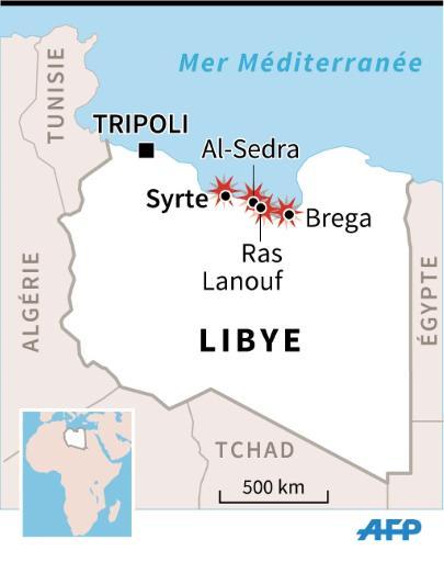 Carte de localisation de Syrte et du croissant pétrolier où des attaques de miliciens islamistes ont fait au moins 19 morts © V. Breschi/ P. Defosseux AFP
