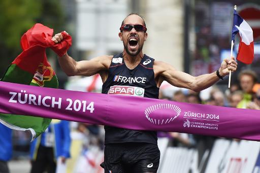 Le Français Yohann Diniz sacré champion d'Europe du 50 km marche et nouveau détenteur du record du monde, le 15 août 2014 à Zurich © Michael Buholzer AFP/Archives