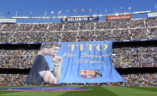 Hommage le 3 mai 2014 au Camp Nou à l'entraîneur du FC Barcelone Tito Vilanova, décédé d'un cancer © Lluis Gene AFP/Archives