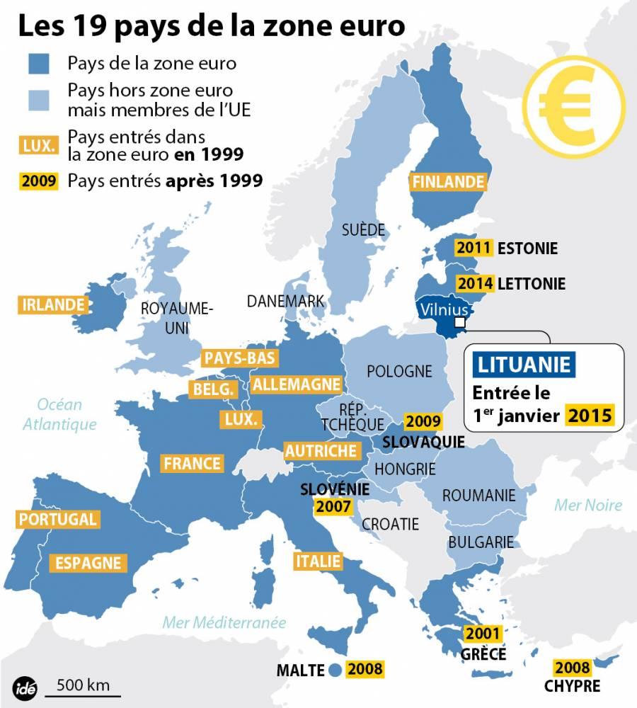Les 19 pays de la zone Euro. ©  Idé
