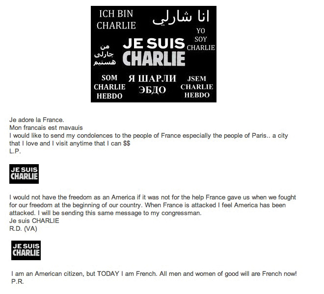 Témoignages d'Américains sur le site de l'ambassade de France ©  DR