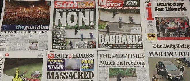 """Unes de la presse quotidienne britannique jeudi matin, au lendemain de l'attentat contre """"Charlie Hebdo""""."""